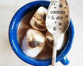 Comfort and Joy: Stamped Holiday Spoon. Entertaining for the Holidays - Thansgiving, Christmas, Holiday
