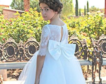 Long Mid sleeve lace, tulle wedding flower girl dress with big bow LS010
