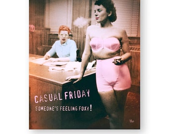 """Funny Art Print Pop Art Office Decor Wall Art Office Humor Retro Smoking Decor 8x10 (larger sizes available) """"Casual Friday"""""""
