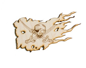 Pirate Flag - Scary, Jolly Roger, Craft Pirate, Wood Pirate, Laser Cut - 1qty - 5.875 x 3.5Inch (14.92 x 8.89cm) - Scary Pirate Flag Design-