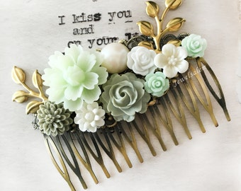 Mint Green Hair Comb Sage Green Wedding Bridal Comb Gold Leaf Floral Headpiece Bridesmaid Gift Vintage Style Flower Hair Slide For Bride