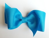 turquoise hair bows-3.5 inch loopy bow for toddler big girl bows--easter spring accessories