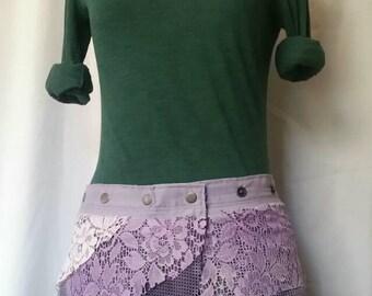 Upcycled lace gypsy mini wrap skirt