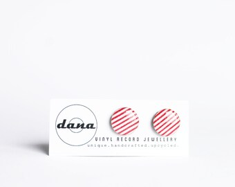 red stripe earrings red and white earrings cute post earrings red studs resin stud earrings red earrings gift idea for her 14mm studs