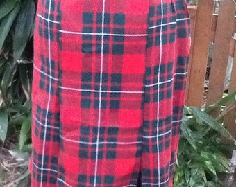 Retro 60s Style Tartan Straight Skirt with kick pleats- Quality Handmade Vintage Inspired Clothes by Petticoat Jane