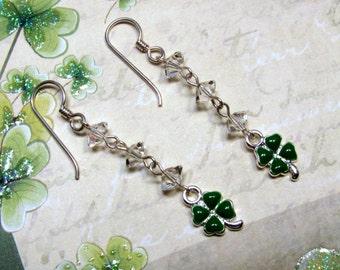 Clover Earrings, St. Patrick's Day Earrings, Good Luck Earrings, Green Clover Earrings, Holiday Earrings, Dangle Earrings, Clover Jewelry
