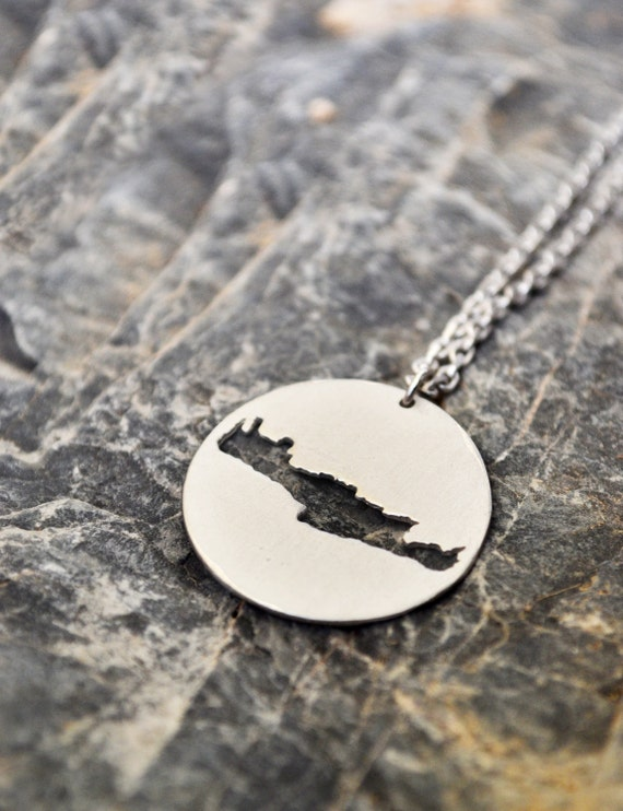 "Crete Map Necklace / Island Map Outline Necklace With ""Crete"" Engraving / Gift for Women / Send off Gift / Greek Souvenir / Summer In Greece"