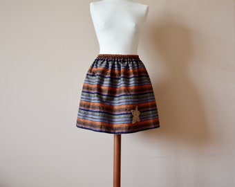 Striped skirt with lace flower, aline skirt,mini skirt, colorful skirt, high waisted skirt, womens clothing, dupioni silk skirt