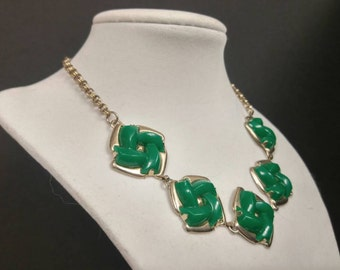 PRICE REDUCED Green and gold kitschy necklace