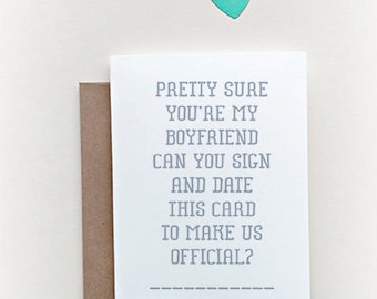 """Let's """"Make it Official"""" greeting card, dating card, relationship card, new boyfriend, new relationship"""