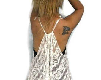 Lace Lingerie,Summer top,Goth Top,Bridal Wedding Anniversary Honeymoon Wear,White camisole,lace camisole,sheer camisole size Medium XXLarge.