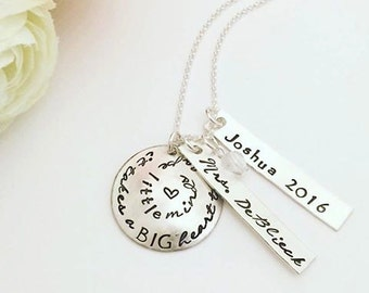 Personalized Teacher Appreciation Gift Necklace - It Takes a BIG heart to Shape Little Minds Teacher Necklace - Teacher Gift - Hand Stamped