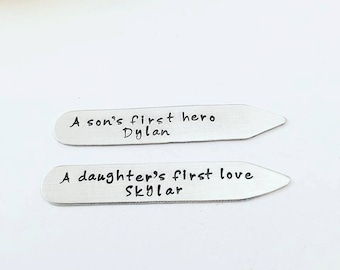 Custom Father's Day Gift - Personalized Collar Stays - Hand Stamped Collar Stays - Gift for Dad - A sons first hero a daughters first love