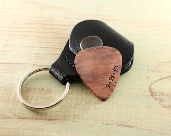 Custom copper guitar pick with case - Personalized gift - Special date - Hand stamped copper - Musician gift- Anniversary gift- Wedding date