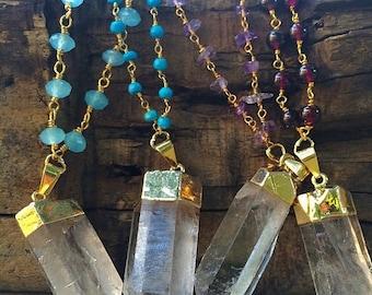 Gold Edged Crystal Quartz Rosary Stone Prayer Necklace