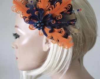 "Navy Orange Gold Goose Nagoire and Pheasant Feathers with Crystals ""Kimmy"" Fascinator Clip. Bridal Prom Bridesmaids"