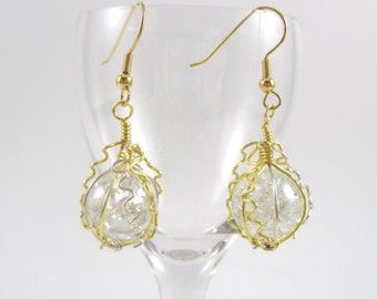 Gold and Silver Wire Wrapped Fried Marble Earrings, Sparkly