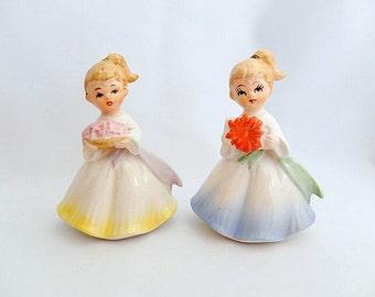 vintage girl figurines, Japan 1950's, 2 girl figurines, collectibles, vintage home decor