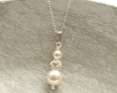 Pearl Drop Bridal Necklace Ivory Swarovski Pearl Wedding Pendent Necklace Custom Colors Bridesmaid Jewelry Gift Rhinestone