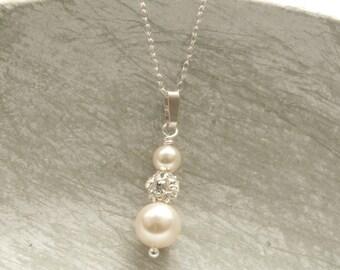 Pearl Drop Bridal Necklace Ivory Swarovski Pearl Wedding Pendent Necklace Custom Colors Bridesmaid Jewelry Gift Rhinestone
