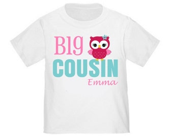 Big Cousin Pink Owl Personalized T Shirt