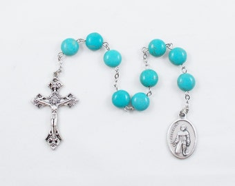 Saint Peregrine Chaplet, Patron Saint of Cancer Patients, Teal Magnesite Stone Catholic Prayer Beads Nine Bead Chaplet - Our Lady of Sorrows