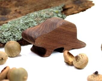 Wood Beaver Toy,  Woodland Animal, Handmade Wood Toy, Walnut Toy, Wooden Toy, Forest Animal