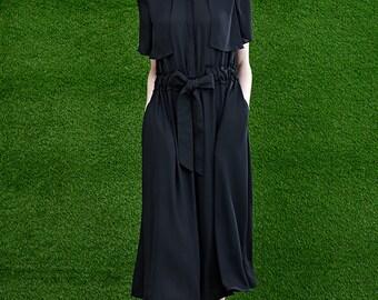 Women Black Long Dress - Women Short Sleeve Dress - Office Dress - Free Shipping