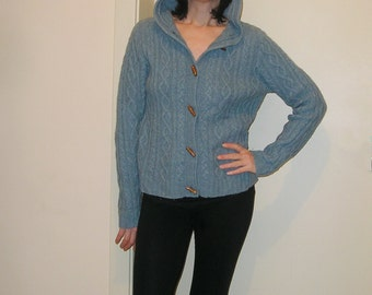 Vintage WOOL hooded cable knit grandpa cardigan sweater, size S-M