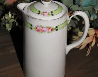beautiful antique Nippon pitcher teapot with lid - has the authentic 1911 era rising sun marking - Japan