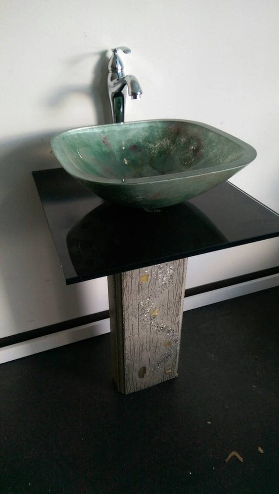 Teal Green Glass Vessel Sink Abstract By Offthewallartist08