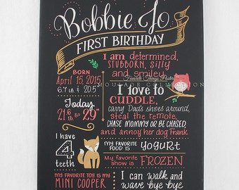 """First birthday chalkboard style custom ink drawing on 18"""" x 24"""" canvas, the original Favorite Things Poster™"""