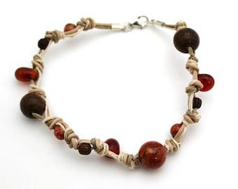 leather beaded bracelet orange stone bracelet hemp bracelet knotted leather bracelet wood bone fossil stone bracelet