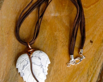 Jasper Leaf and Copper Necklace Statement Necklace