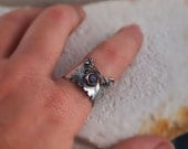 Wide Band Ring - Natural Garnet Gemstone - January Birthstone - One of A Kind - Designer Unique Ring - Adjustable from size 4 to size 9