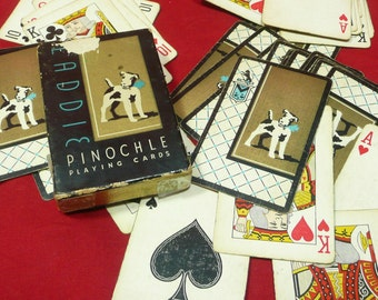 Vintage Laddie Pinochle Playing Cards, Jack Russell Terrier Dog
