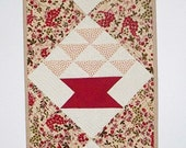 Red Quilted Table  runner - Wall Hanging - Red Baskets -  Traditional yet Modern - 12 x 35