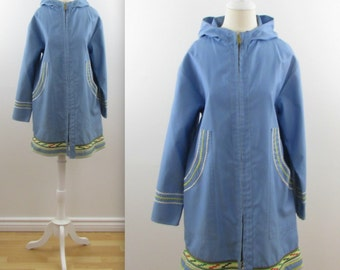 Arctic Sky Parka Coat - Vintage 1970s Women's Jacket Shell in Large xLarge
