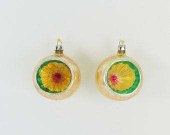 Vintage 1950s Gold Indent Christmas Tree Ornaments - Glass Christmas Balls