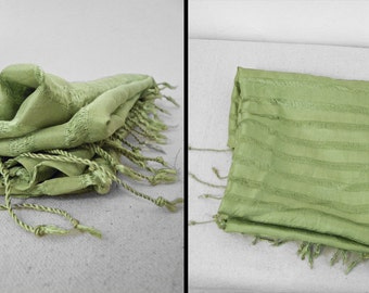 Striped Silk Scarf Fringed Ends Granny Smith Apple Green 32 x 72