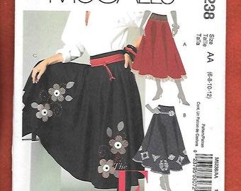 McCall's 5238 Misses' Folkoric Skirt, Full Skirt With Waistband And Hem Embellishments, Sizes 6, 8, 10, 12, UNCUT