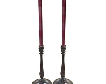 Vintage Turned Wood Candlesticks