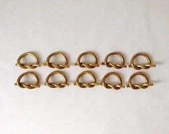 Vintage Solid Brass Napkin Rings, Knot Pretzel Design *Ships Free*