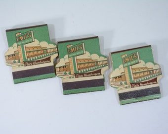 3 Emil's Drive In Restaurant Printed Stick Matchbooks Lot