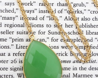 Apple Green Chalcedony Long Pendant Necklace