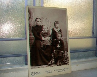 Antique Cabinet Card Photograph Victorian Mother and Children 1800s