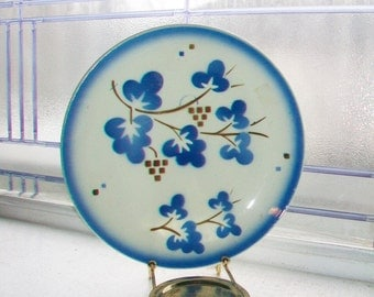 Set of 5 Vintage Dessert Plates Blue and White China