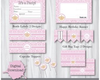 happy birthday crown template - princess crown party printable etsy