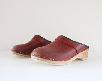 leather wood clogs/ 6.5-7/ 1970's