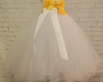 Flower girl dress white yellow tutu flower girl dress, wedding bridal dress,buttercup yellow wedding tutu dress, flower girl tutu dress